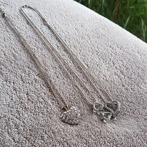 Jewelry - 2 x Heart Necklaces, 1 Silver-tone + 1 Gold-tone
